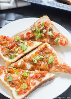 Tomato Bread Toast Indian Style