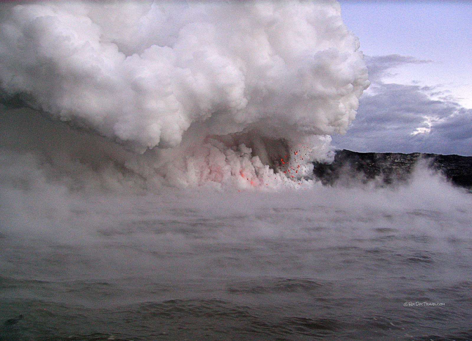 Kilauea volcano geology tour helicopter boat lava ocean entry photographs copyright RocDocTravel.com