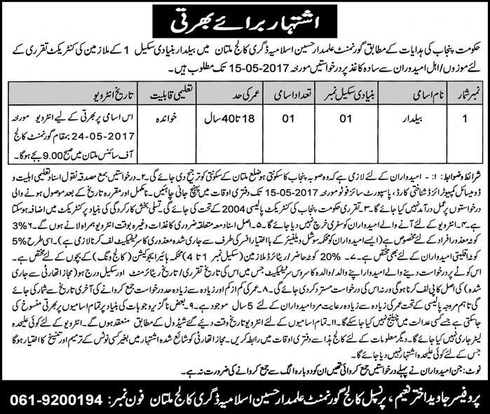 jobs in Alamdar Hussain Islamia College 2 may 2017