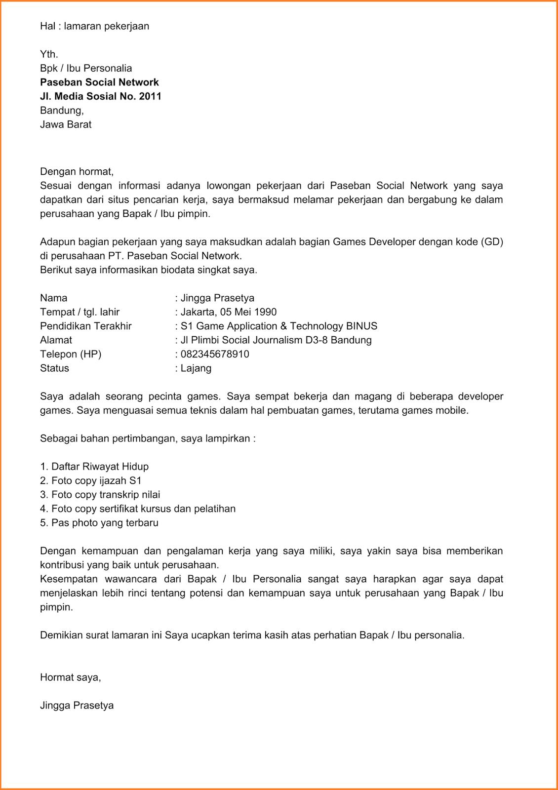 Contoh Surat Lamaran Kerja Di Perusahaan Perkebunan Kelapa Sawit