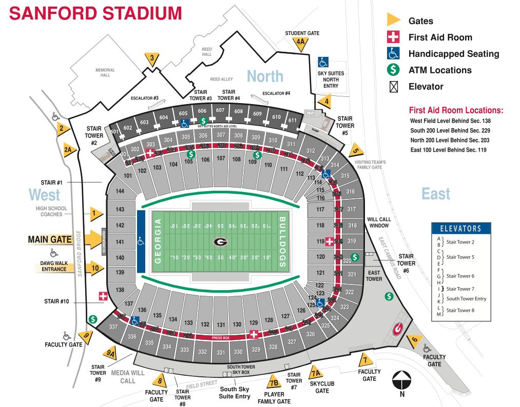 Sanford Stadium Seating Chart & Interactive Seat Map SeatGeek - sanford stadium seating chart