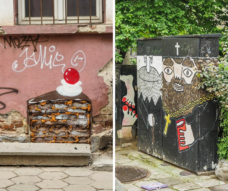 Cake and priests on street art