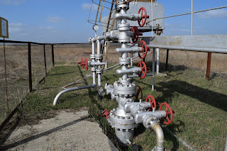 Wellhead in oil and gas industry with equipment and valves