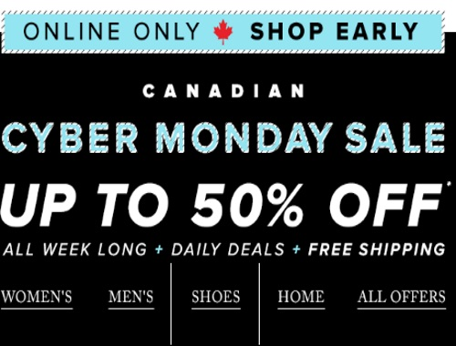 Hudson's Bay Canadian Cyber Monday Sale Up To 50% Off + Extra 15% Off Promo Code