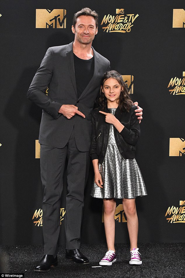 Hugh Jackman and Dafne Keen at the MTV Awards 2017