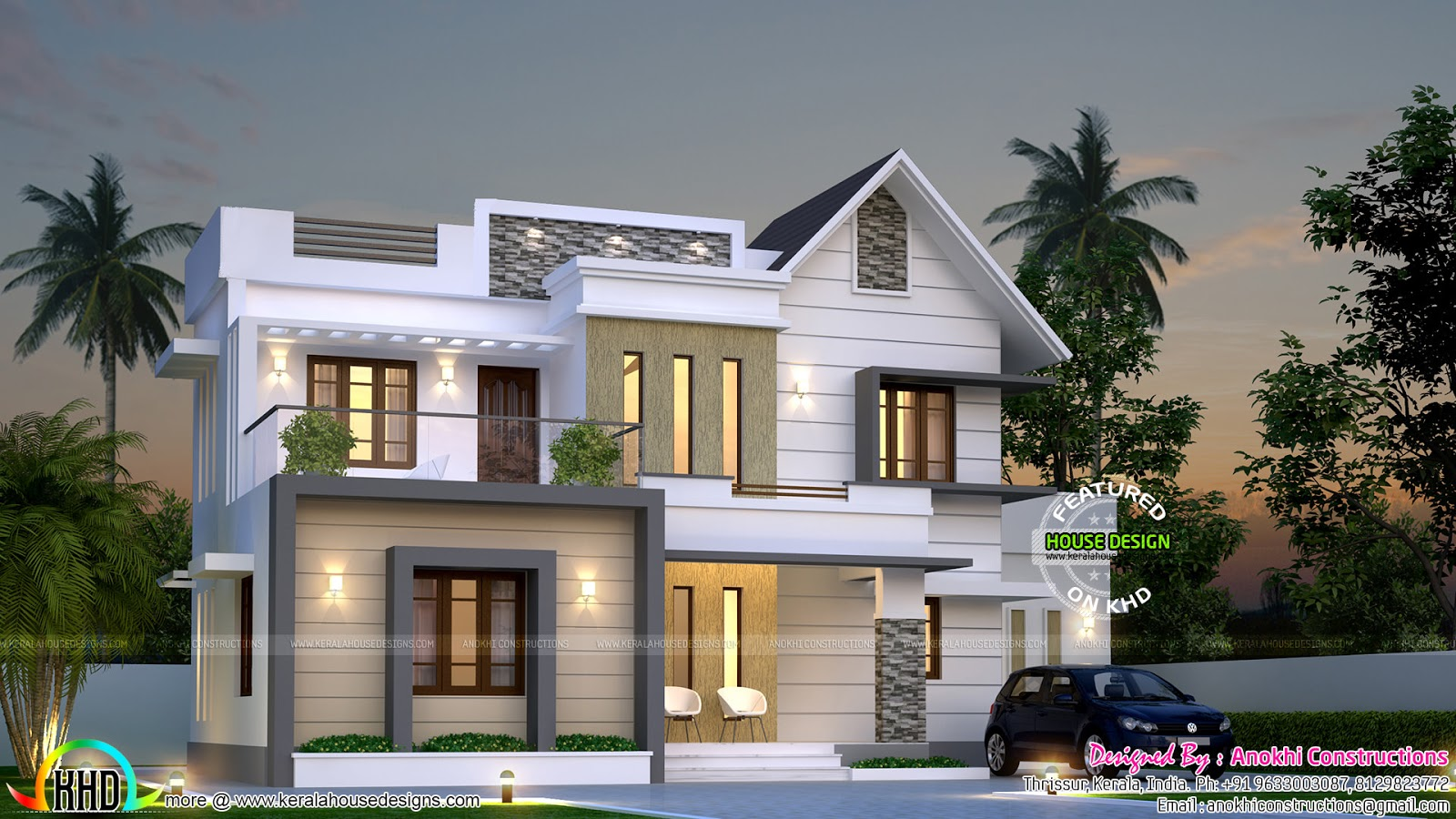 Simple and elegant villa kerala home design and floor plans for Simple kerala home designs