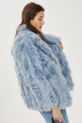 blue faux fur jacket/coat