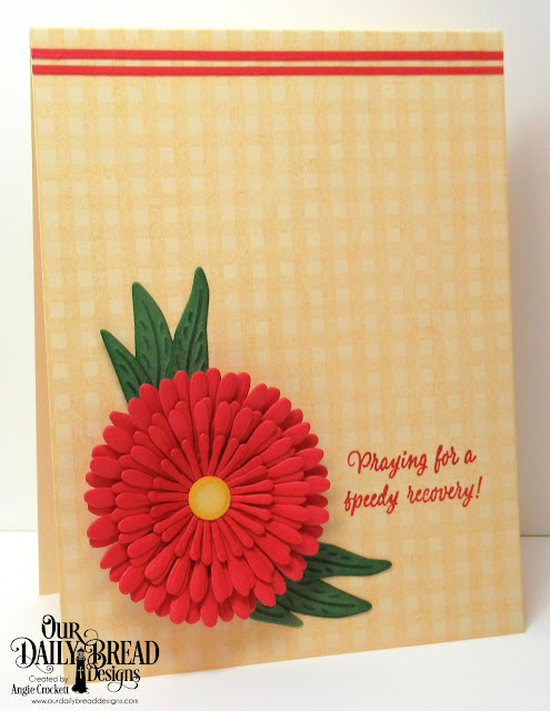 ODBD Get Well Wishes, ODBD Gingham Background, ODBD Custom Asters and Leaves Dies, Card Designer Angie Crockett