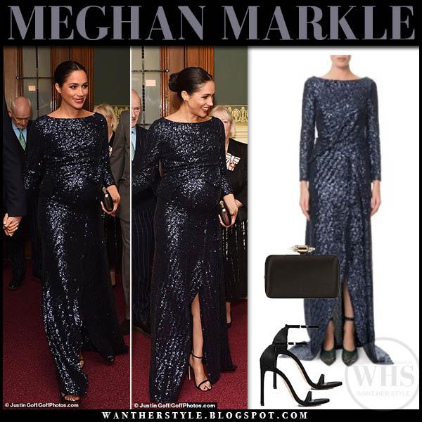 Meghan Markle in navy blue sequin roland mouret sarandon gown and black stuart wetizman sandals duchess sussex royal family fashion january 16