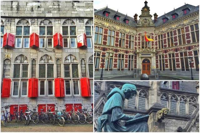 Edificios universitarios en el centro de Utrecht – Estatua en el jardín Pandhof