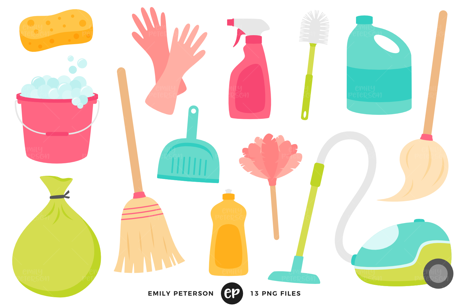 Spring Cleaning Clipart, Emily Peterson