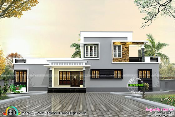 1800 sq-ft flat roof small budget home front view