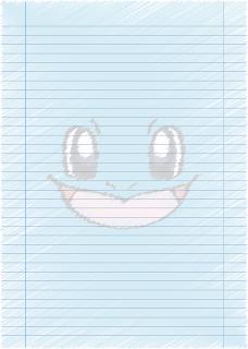 Papel Pautado do Squirtle Pokemon rabiscado PDF para imprimir na folha A4