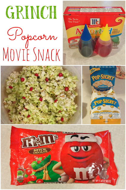 Make this yummy Grinch popcorn to eat while you watch the movie!
