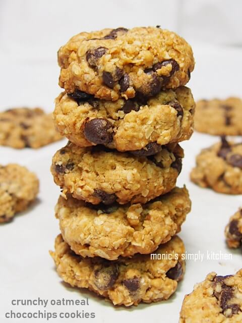 resep crunchy oatmeal chocolate chips cookies