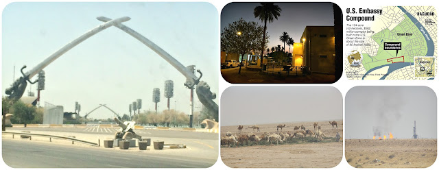 Swords of Qādisīya, Night time in Baghdad, Camels in the desert, Oil fields in Basrah, Iraq