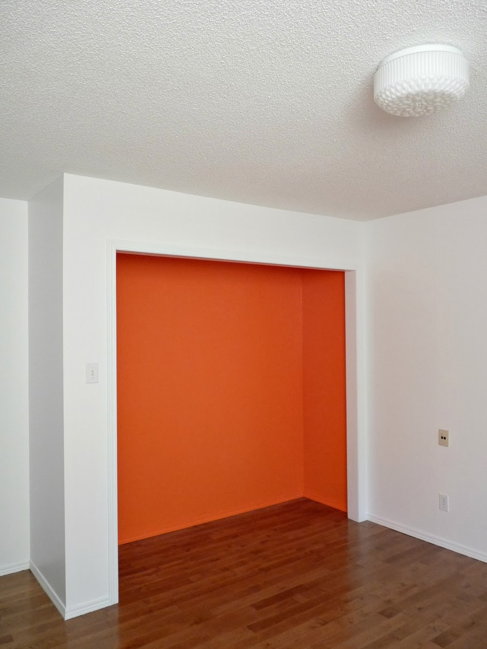 Closet painted orange inside