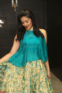 Anchor Srimukhi in green sleeveless top and skirt at O Pilla Nee Valla Movie Audio Launch Feb 2017 094.JPG
