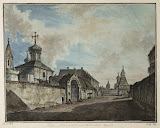 View of the Church of Our Lady of Greben and Vladimir Gate in Kitai-Town by Fyodor Alekseyev - Architecture, Landscape Drawings from Hermitage Museum