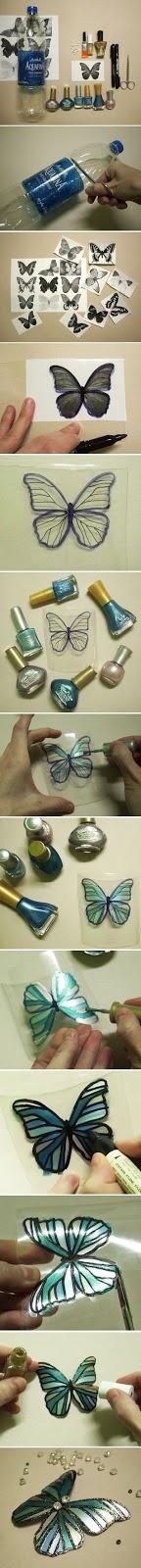 malowane motyle z plastokowej butelki DIY