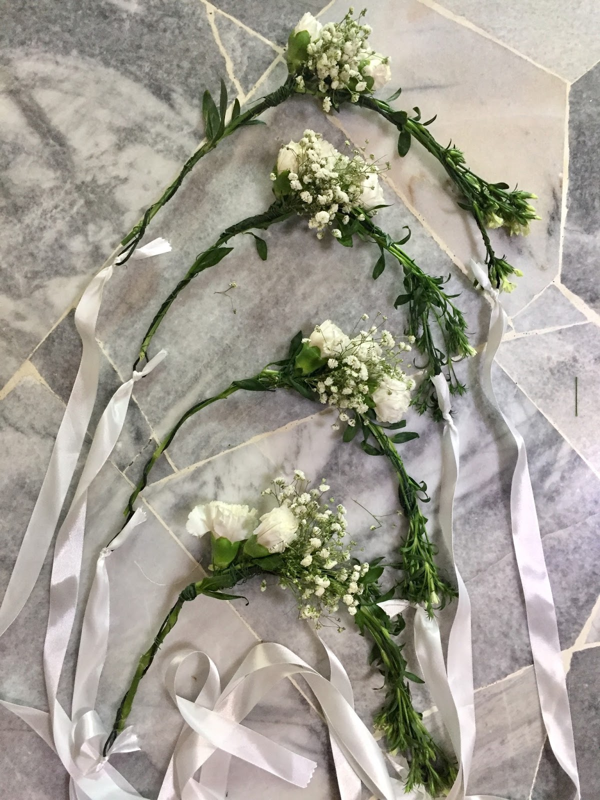 How to make your own fresh flower crown nadia izzaty for nazlins flower crown i sewed a veil on a ribbon and tie it to the loop at the end of the crown i made a simple hand bouquet for izmirmasajfo