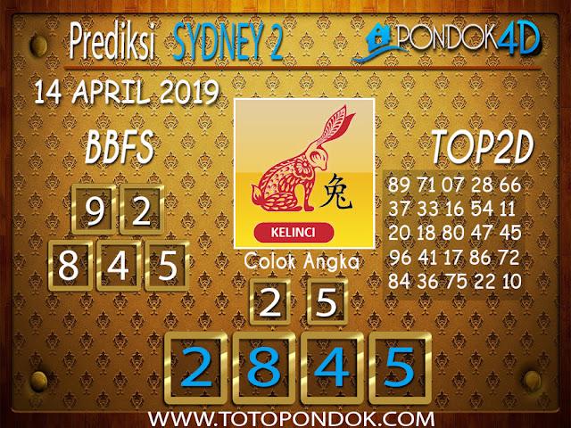 Prediksi Togel SYDNEY 2 PONDOK4D 14 APRIL 2019