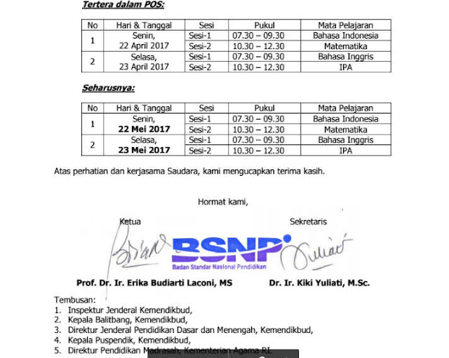 Ralat Jadwal POS UN 2017 BSNP Final PDF