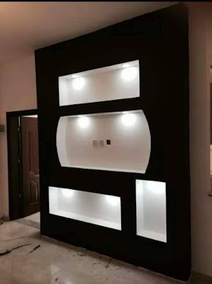 Modern pop wall niches designs ideas with lighting for wall decoration 2019