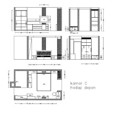 Layout Desain Interior Kamar Kos Jakarta Kamar C Hadap Depan