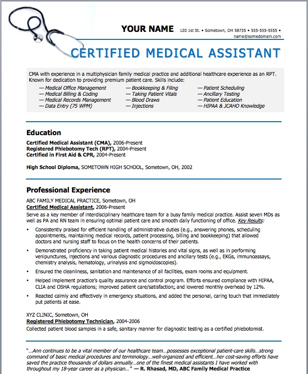 Job description for medical assistant resume