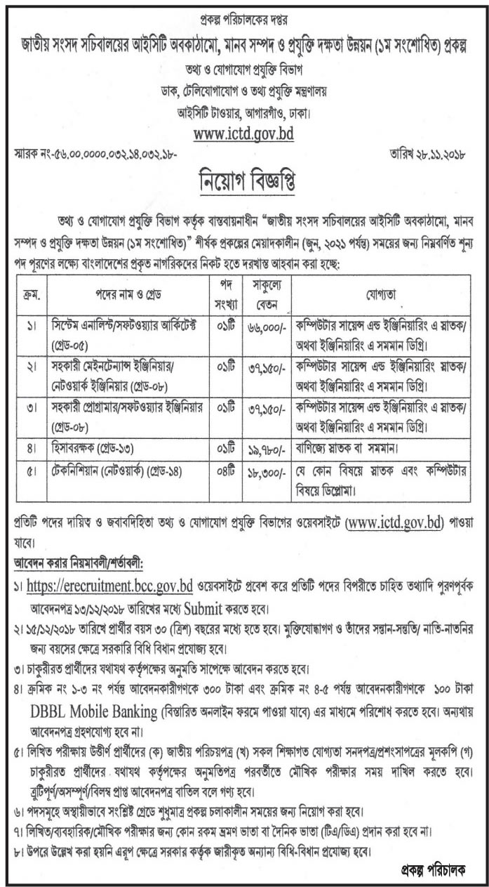 Information and Communication Technology Division (ICTD) Job Circular 2018