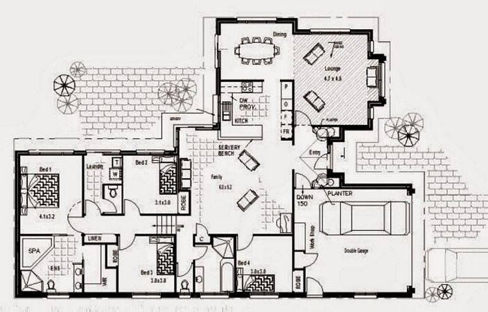 denah rumah 4 kamar tidur 1 lantai yang inspiratif