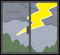 窓の外の天気のイラスト(雷)