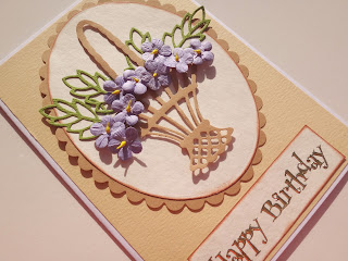 Birthday card using Marianne Flower Basket die cutting stencil