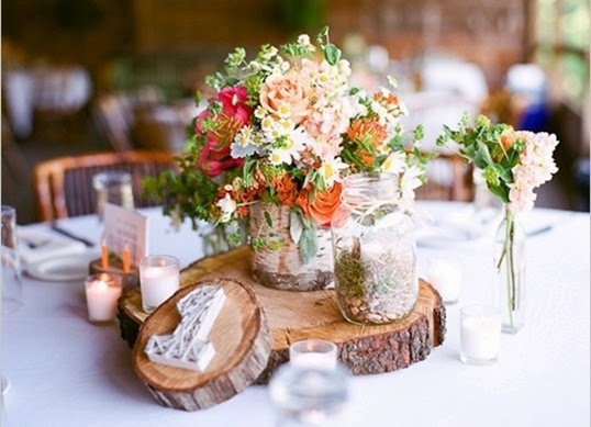 Rustic Wedding table Decorations wood centerpieces Pictures