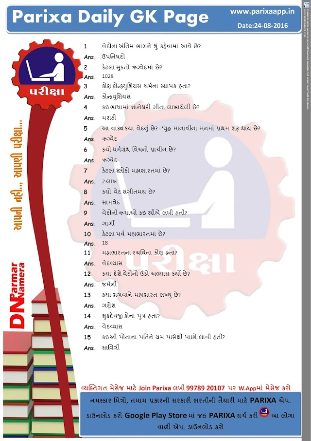 ParixaApp Daily GK Page Date: 24/08/16