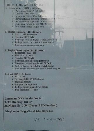 Lowongan Kerja di Padang – Toko Bintang Timur – 4 Posisi (Penutupan 5 Sept.2016)