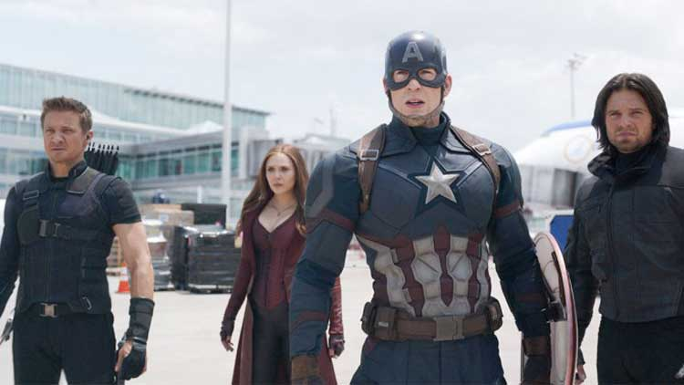 Chris Evans, Elizabeth Olsen, and Jeremy Renner star in Captain America: Civil War.