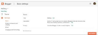 Blogger basic setting tab