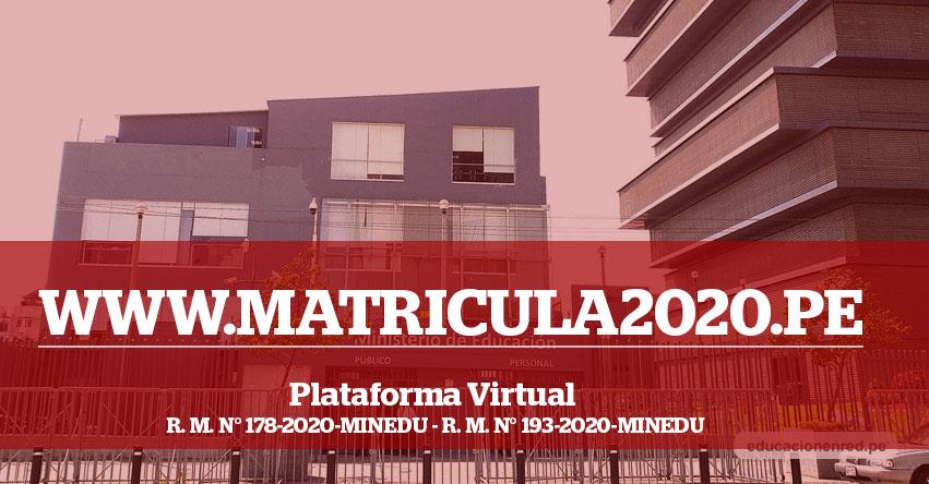 WWW.MATRICULA2020.PE - Plataforma Virtual para el registro de escolares de colegios privados para el traslado a colegios estatales [Página Oficial Minedu] R. M. N° 193-2020-MINEDU