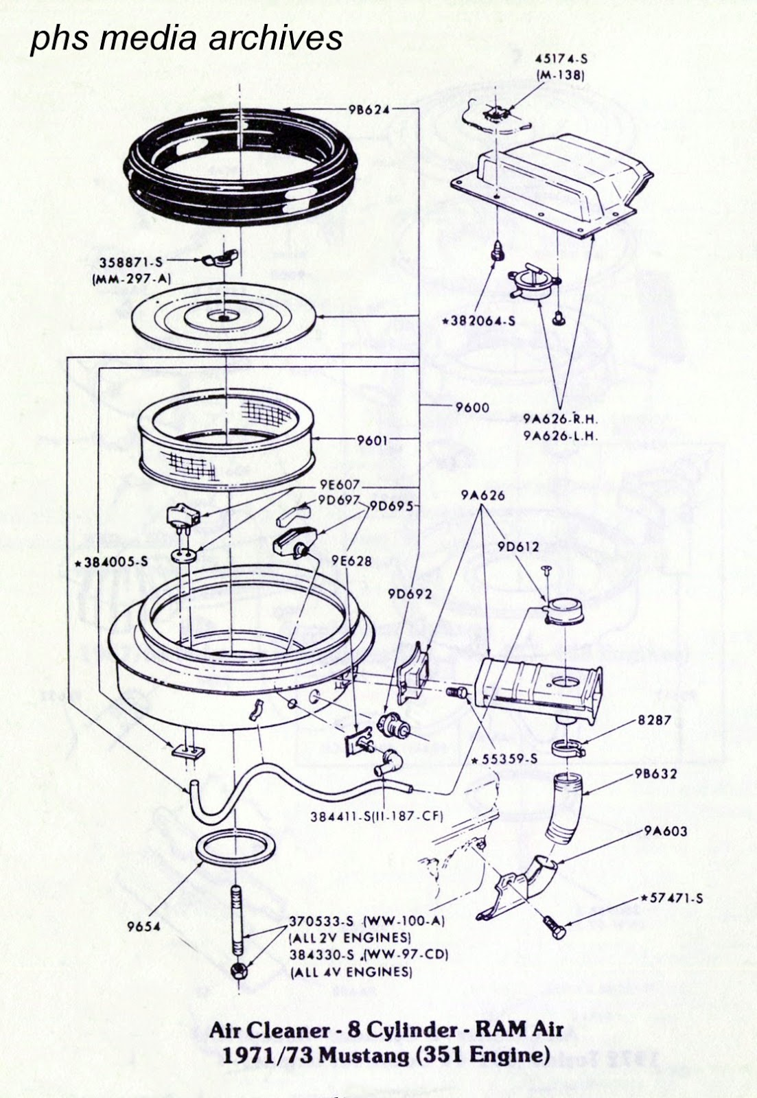 the ram air cleaner system for the 351 4v engine is shown above note that in the drawing there are specific part numbers for certain pieces where  [ 1103 x 1600 Pixel ]