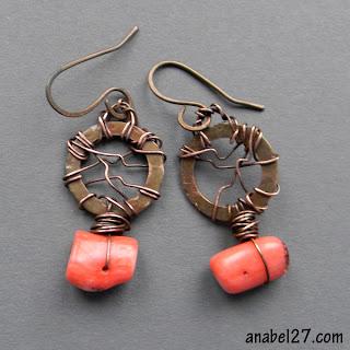 купить медные украшения бохо ручной работы украина подарок серьги коралл