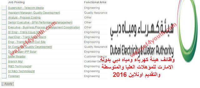 اعلان وظائف خالية بهيئة كهرباء ومياه دبي 2016 بدولة الامارات العربية المتحدة والتقديم علي النت اونلاين بتاريخ 18-08-2016