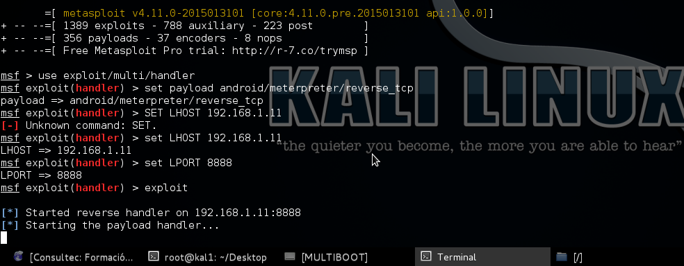 Blog   David Sora: Kali Linux - I Reverse TCP Android LVL0