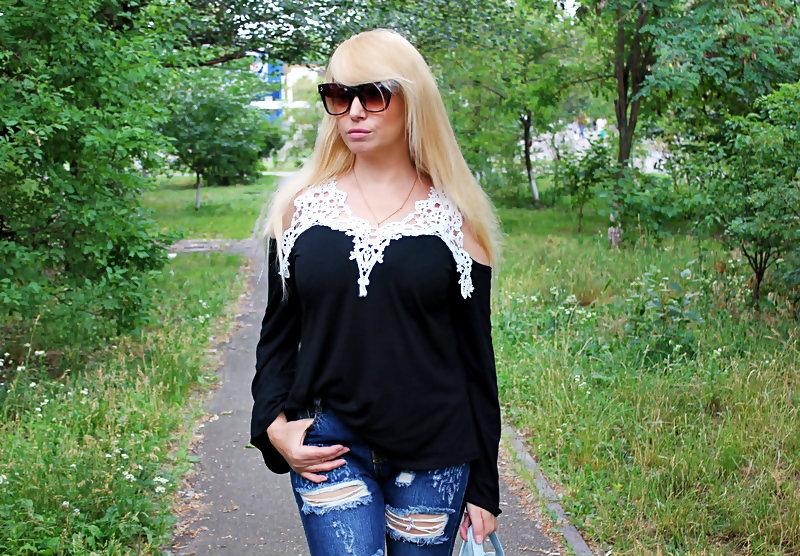 Shopping on ROSEGAL: Crochet Trim Top / Блуза с открытыми плечами и кружевной отделкой