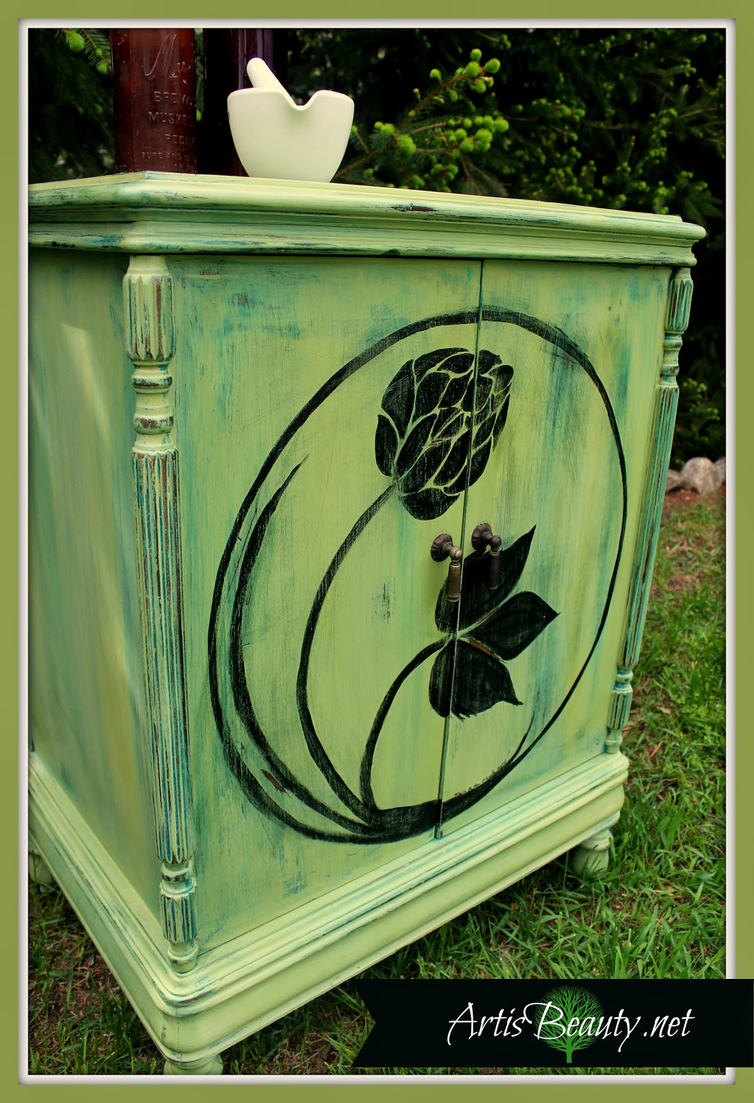 antique-music-cabinet-turned-hand-painted-hop-home-brew-bar-art