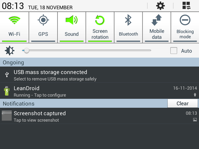 USB mass storage connected