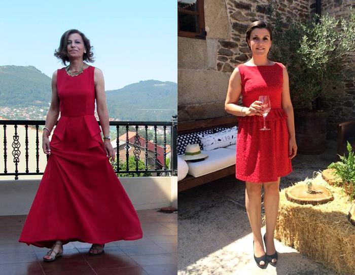 Invitada perfecta boda, comunión. Vestido rojo largo noche rojo. Vestido corto rojo detalle cintura
