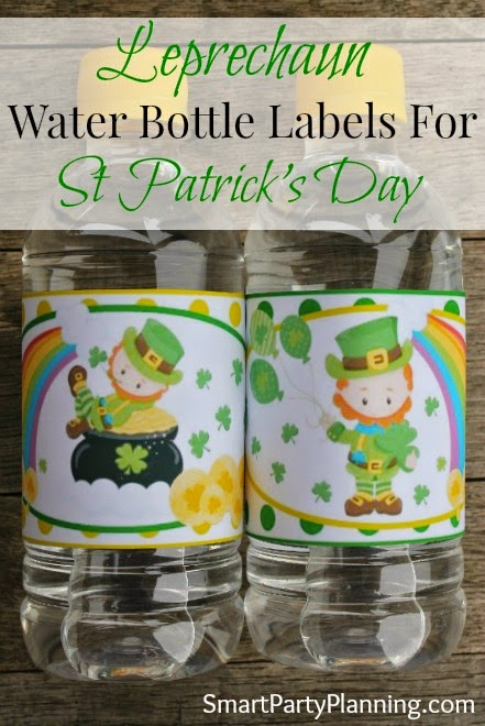 leprechaun water bottle labels for st patricks day