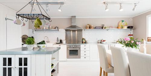 Bright Swedish Kitchen Dining Room